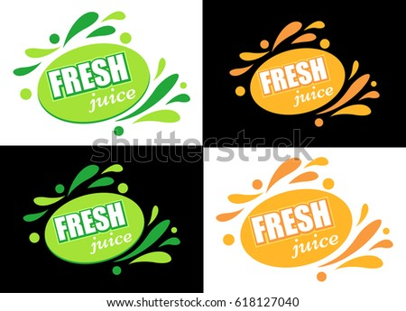 label with text fresh juice a