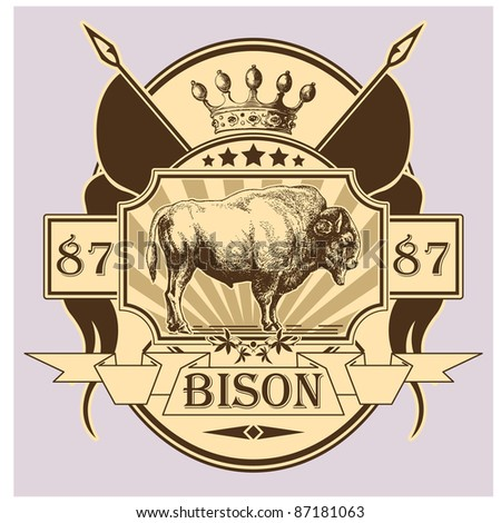 label with the image of a bison