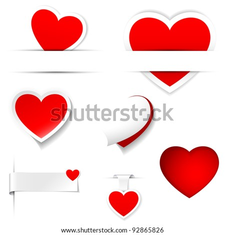 labels and stickers, heart shape - stock vector