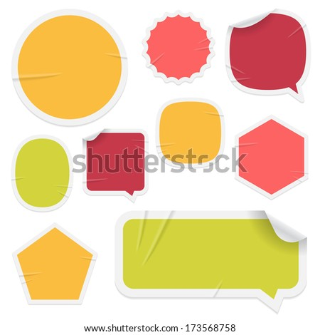 "Labels and stickers on white background. Use layer ""Print"" in vector file to recolor and add your design. Eps-10 with transparency."