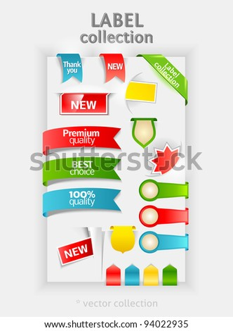 Labels collection. Vector sticker for text. Ribbon, banner and bookmarks. Design symbols. Premium Quality and Best Choice labels.