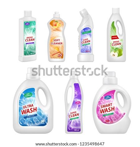 Labels for chemical bottles. Realistic illustrations of plastic bottles for various chemical liquids