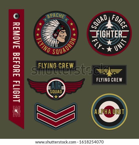 Labels of squadron airforce typography, tee shirt graphics, vectors