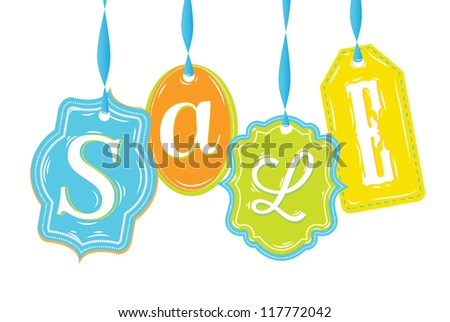 labels of various forms with text Sale in different colors with blue ribbons - stock vector