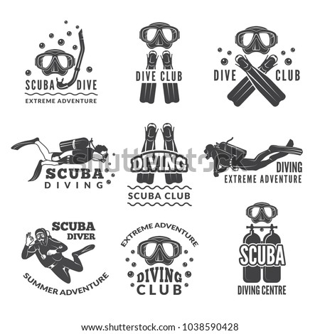 Labels or logos for diving club. Vector pictures set of divers and different specific equipment. Illustration of underwater scuba diving with snorkeling, hobby sport emblem