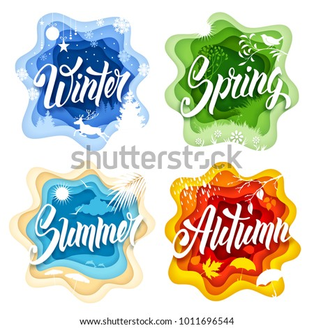 Labels set in paper art style with calligraphic inscriptions and seasonal elements for all four seasons - Winter, Spring, Summer and Autumn. Isolated on white background. Vector illustration.