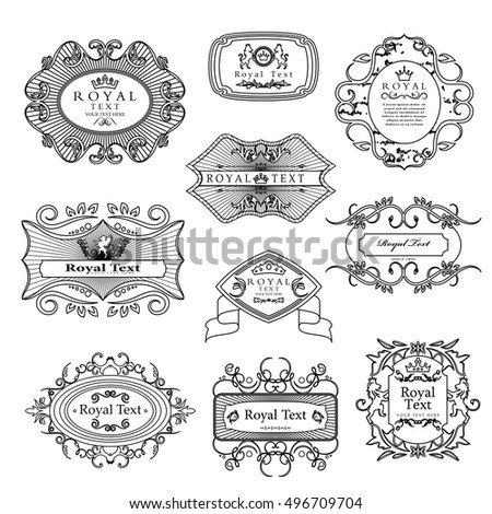 Labels Set - Isolated On Black Background - Vector Illustration, Graphic Design. For Web,Websites,Print,Presentation Templates,Mobile Applications And Promotional Materials