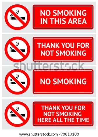 labels set no smoking stickers