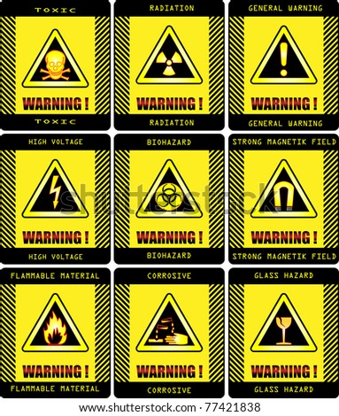 Labels. Set of warning signs vector work .