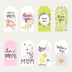 Labels set on mothers day. Holiday romantic vector illustration with hearts, lettering, flowers, leaves and branches, collection of lovely symbols for mom day. Template for your design.