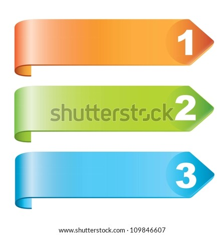 Labels steps with numbers over white background