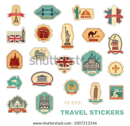 Labels travel. Stickers with symbols of different countries