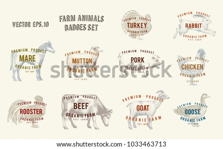 Labels with farm animals. Set templates price tags for shops and markets of organic food. Vector illustration art. Retro. Hand drawn animals.