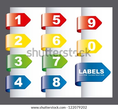 labels with numbers over gray background. vector illustration