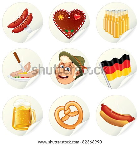 Labels with Oktoberfest Symbols and illustrations. Set of vector icons for your design.
