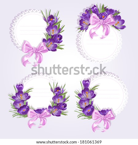 Labels with purple crocus flowers for your labels on a light background