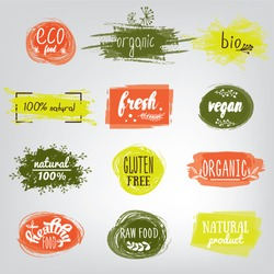 Labels with vegetarian and raw food diet designs. Organic food tags and elements set for meal and drink,cafe, restaurants and organic products packaging.Vector illustrated bio detox logo.