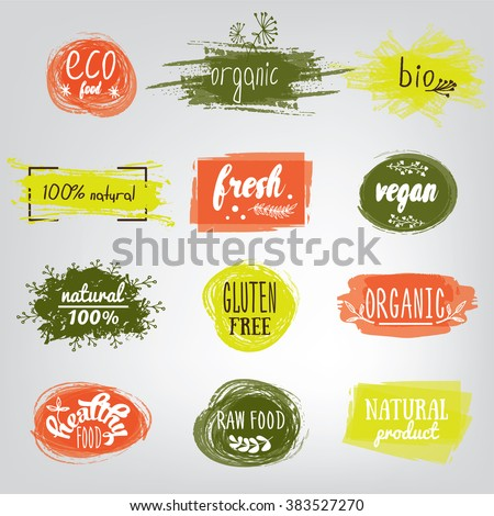 Labels with vegetarian and raw food diet designs. Organic food tags and elements set for meal and drink,cafe, restaurants and organic products packaging.Vector illustrated bio detox logo. #383527270