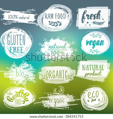 labels with vegetarian and raw