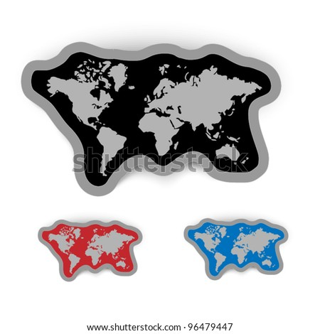 Labels with world map - three types with different color