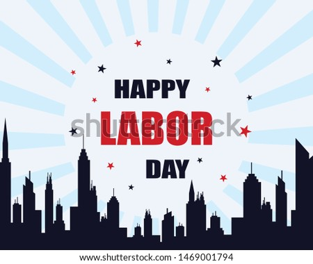 Labor day background flat design on skyline color background.