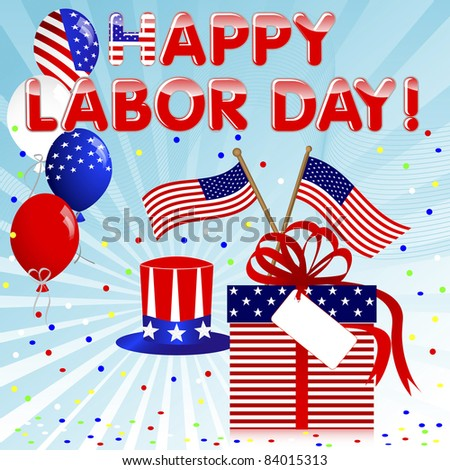 Labor Day background with gift and balloons. 10EPS. Vector.