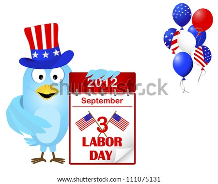 Labor Day. Blue Bird in a hat with icon a calendar and beautiful balloons. Vector illustration. 10EPS.