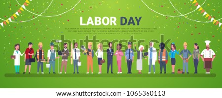 Labor Day Decoration Poster With People Of Different Occupations Over Template Background