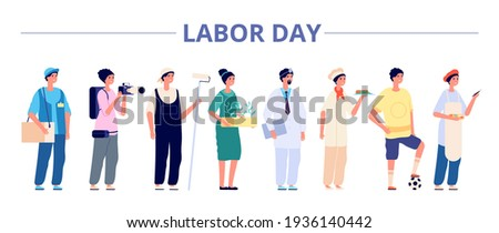 Labor day. International industrial workers group, people professional careers. Different girls boys on job banner, may holiday vector flyer