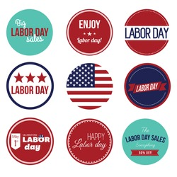 Labor Day Large set. Collection of vintage retro grunge labels, badges and icons. American USA Flag with labels