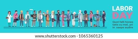 Labor Day Poster With People Of Different Occupations Over Background With Copy Space Horizontal Banner