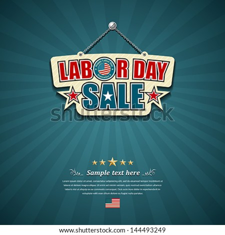 Labor Day Sale American Signs Hanging With Chain Design Background, Vector Illustration
