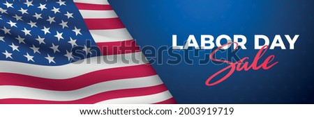 Labor Day Sale horizontal banner. Waving realistic american flag and text. Concept template for web sites, header. Stock vector illustration.