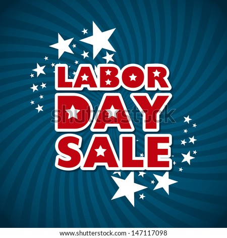 Labor Day Sale Over Blue Background Vector Illustration