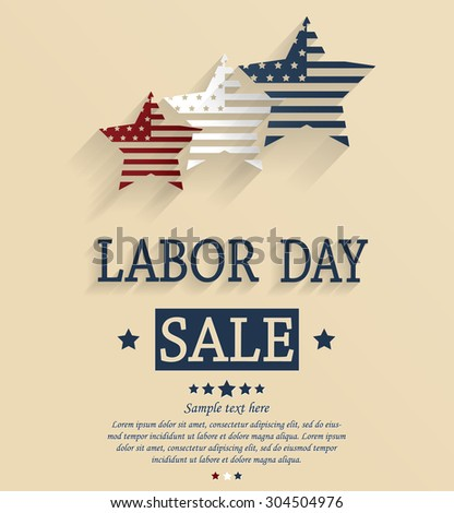 Labor Day sale. Red, white and blue stars. Vector illustration.