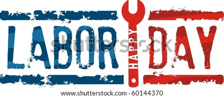 Labor day stamp - stock vector