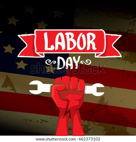 labor day vector background vector happy labor day poster or banner with clenched fist. Black Bedroom Furniture Sets. Home Design Ideas