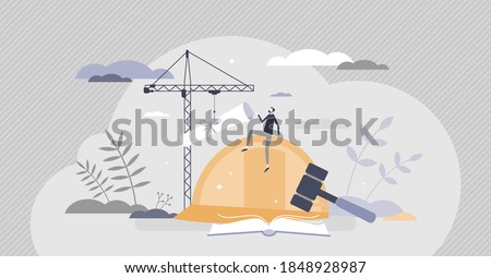 Labor law as worker, trade union and employer care regulation tiny person concept. Legal rights for working hours, salary, discrimination control and workplace contract protection vector illustration
