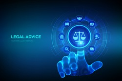 Labor law, Lawyer, Attorney at law, Legal advice concept on virtual screen. Internet law and cyberlaw as digital legal services or online lawyer advice. Hand touching digital interface. Vector. EPS10.
