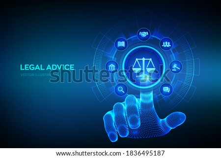 Labor law, Lawyer, Attorney at law, Legal advice concept on virtual screen. Internet law and cyberlaw as digital legal services or online lawyer advice. Hand touching digital interface. Vector. EPS10. Foto stock ©