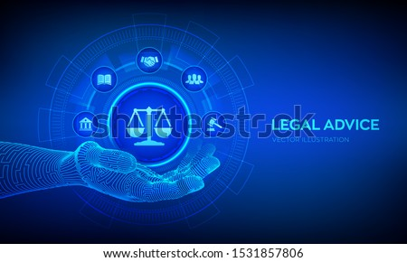 Labor law, Lawyer, Attorney at law, Legal advice concept on virtual screen. Internetlaw and cyberlaw as digital legal services or online lawyer advice. Law sign in robotic hand. Vector illustration.