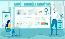 Labor Market Analysis, Human Resources Skills and Employment Information. Business People Cartoon Characters HR Agency or Department Employees Analyzes Diagrams and Data. Flat Vector Illustration.