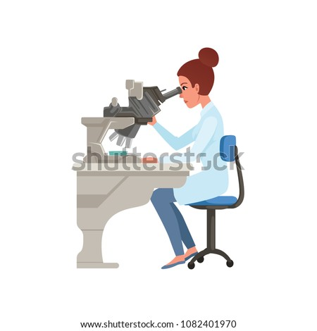 Laboratory assistant looking through microscope, scientists in medical laboratory doing research vector Illustration on a white background