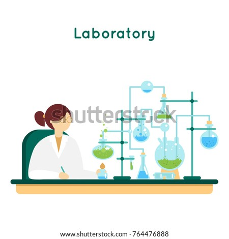 Laboratory assistant. Woman with test tube at work. Concept of lab research, testing, studies in chemistry, biology, physics, medicine. Science equipment.