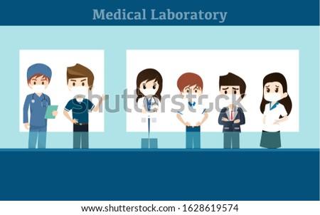 Laboratory assistants work in scientific medical. Doctor Cartoon character, vector illustration