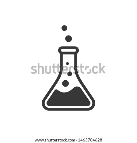 Laboratory beaker icon. Сhemical experiment in flask. Сhemistry and biology symbol. Flask vector illustration. Science technology. Isolated black object on white background.