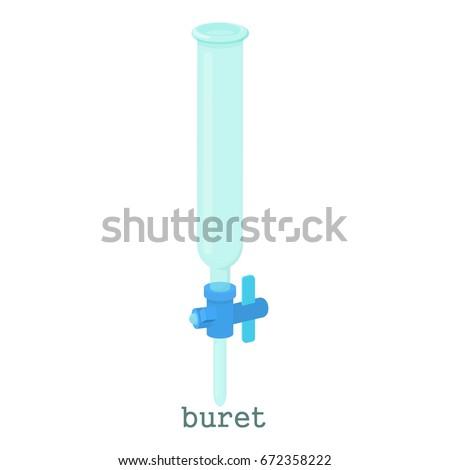 Laboratory burette icon. Cartoon illustration of laboratory burette vector icon isolated on white background