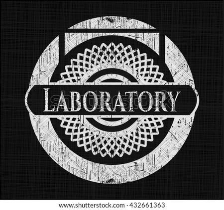 Laboratory chalk emblem, retro style, chalk or chalkboard texture