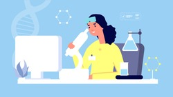 Laboratory concept. Sciensist with microscope vector illustration. Medicine, medical tests, lab assistant