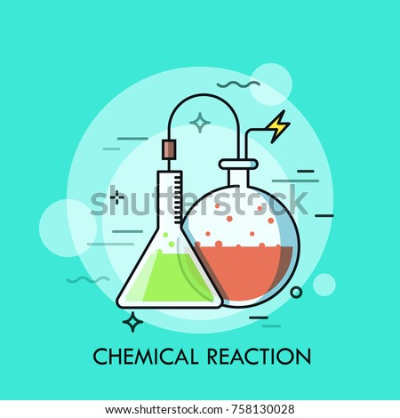 Laboratory conical and round-bottom flasks filled with colorful liquids and connected by wire. Concept of chemical reaction, lab or scientific experiment. Vector illustration for banner, website.